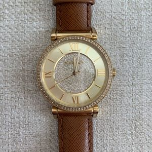 Michael Kors Gold and Brown leather band watch
